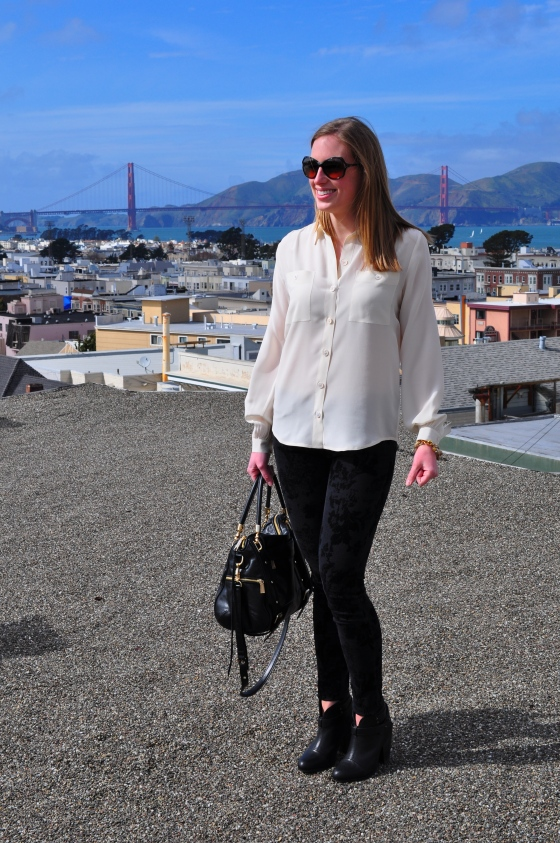 Club Monaco blouse, Current/Elliot jeans, J. Crew bracelet, Rag & Bone booties, Rebecca Minkoff bag, Tory Burch sunglasses (similar)