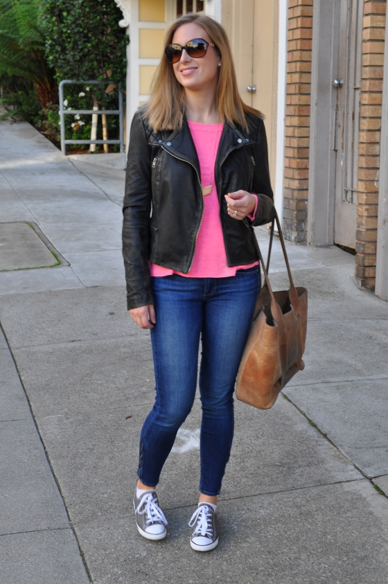 All Saints leather jacket, Madewell sweater (old), Paige jeans (old), Madewell necklace, Converse, Coach sunglasses (old)