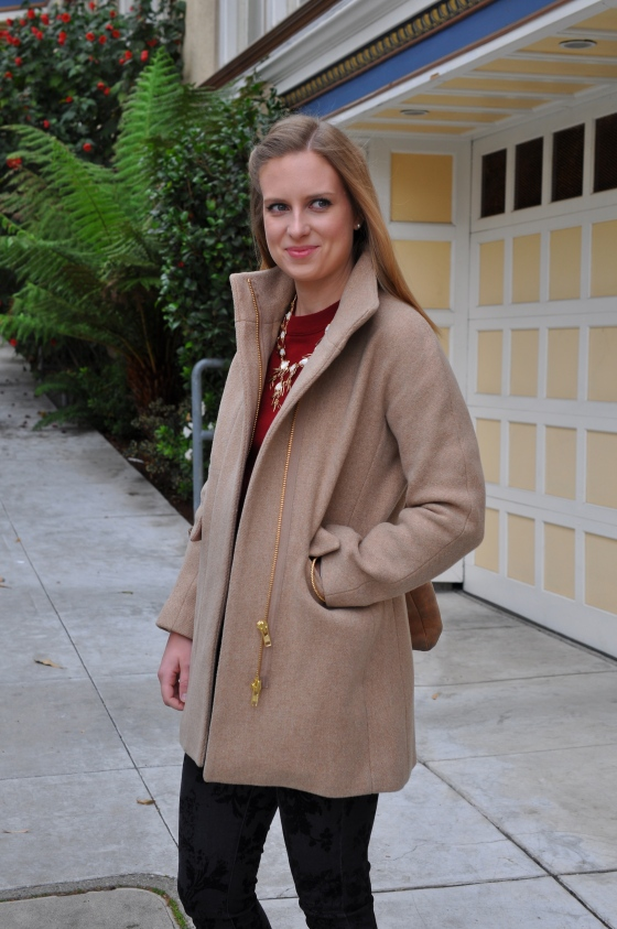 J. Crew coat, J. Crew sweater, Current/Elliott pants, Rag & Bone booties, Kendra Scott necklace, J. Crew bangle, TEXI leather bag