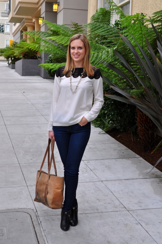 Club Monaco blouse, Joe's jeans, Rag & Bone booties, J. Crew necklace (old), TEXI leather bag