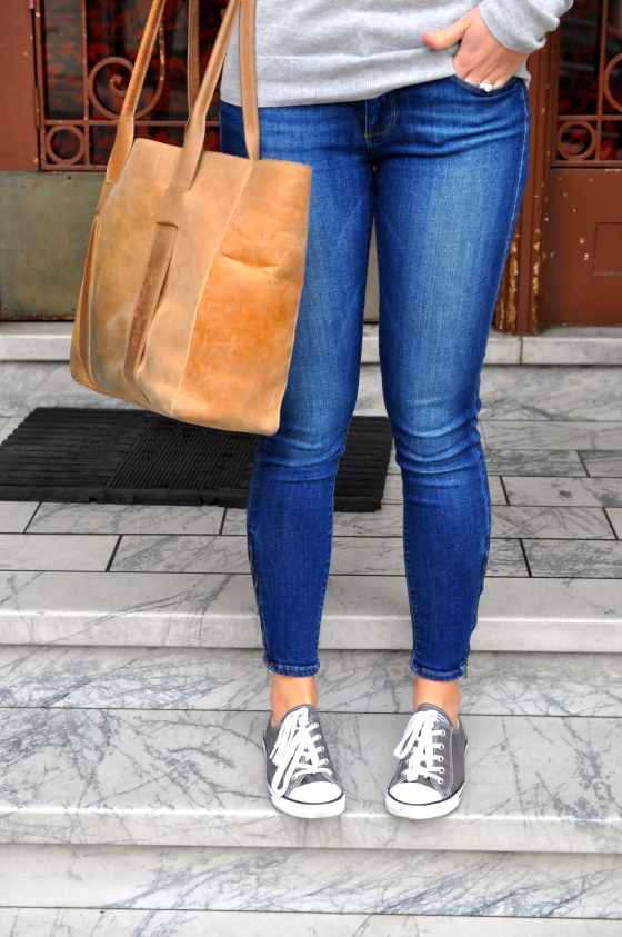 Gap sweater (old), Paige jeans (old), Chuck Taylors, J. Crew necklace (old), TEXI leather bag