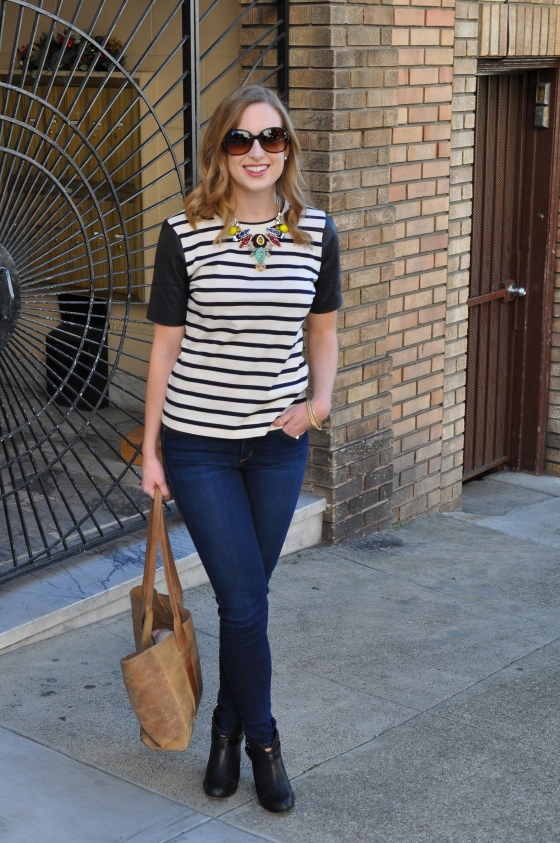 J. Crew shirt, Joe's jeans (similar), Rag&Bone booties, J. Crew necklace, J. Crew bangles, TEXI leather bag, Coach sunglasses (old)