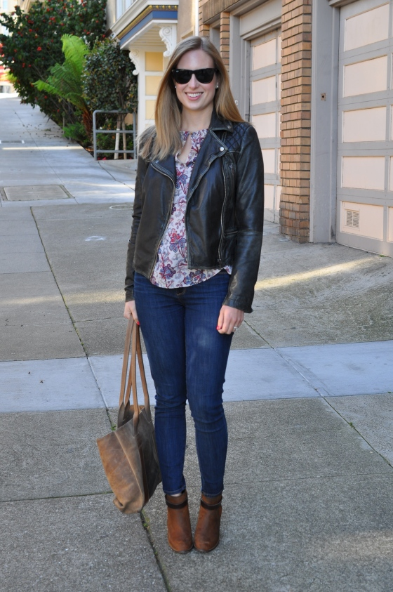 All Saints leather jacket, Zara blouse (old), Paige jeans, Madewell booties (old),  TEXI leather bag, Ray-Ban sunglasses