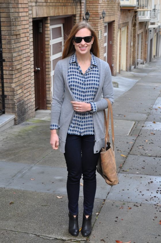 J. Crew cardigan (old), J. Crew shirt, J Brand jeans, Rag&Bone booties, TEXI leather bag, Ray-Ban sunglasses