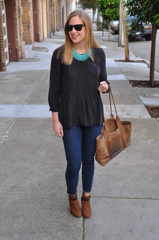 Madewell shirt, Paige jeans, Madewell booties, Birds on a Wire necklace c/o, TEXI leather bag, Ray-Ban sunglasses